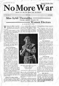 Miss Sybil Thorndike Talks About Peace To Women Electors, May 1929